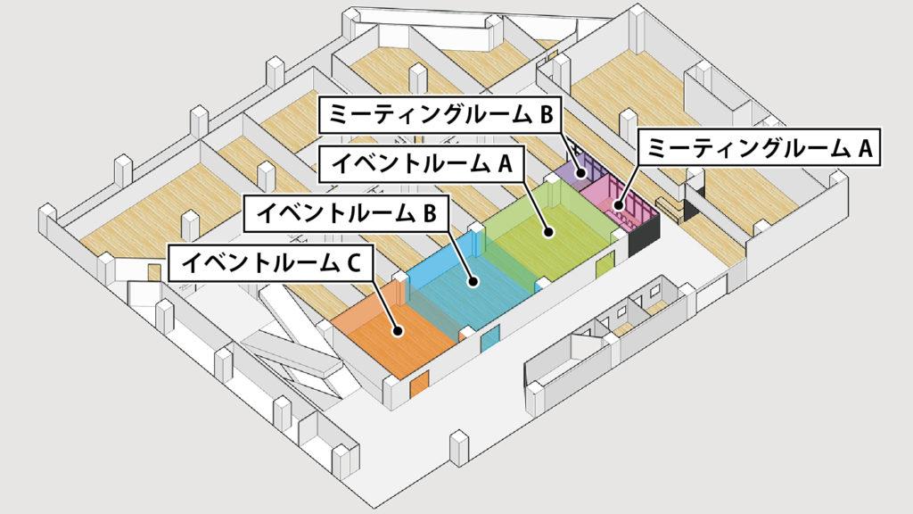 大阪府枚方市の貸し会議室・レンタルスペース「ビィーゴ」の配置図