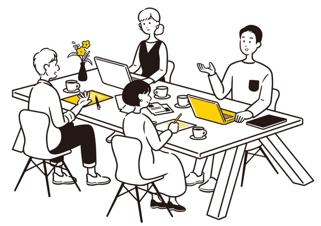 大阪府枚方市のコワーキングスペース「ビィーゴ」のオフィス・シェアオフィスイラストイメージ
