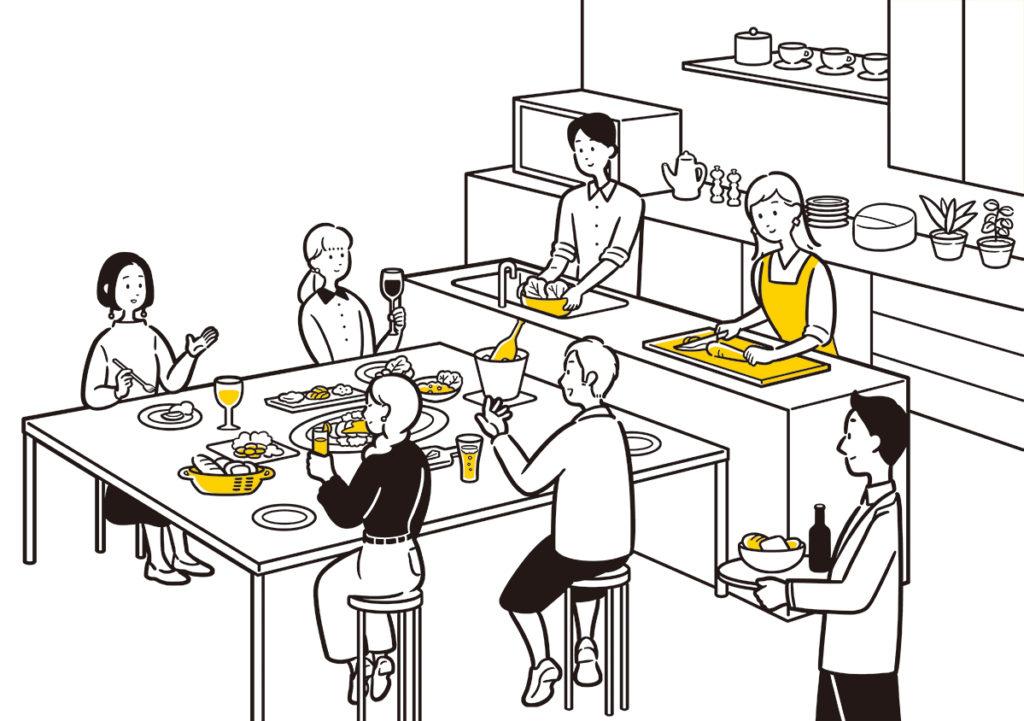 大阪府枚方市の貸し会議室・レンタルスペース「ビィーゴ」のキッチンスペースのイラストイメージ