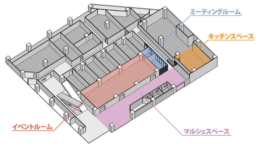 大阪府枚方市の貸し会議室・レンタルスペース「ビィーゴ」のレンタルスペース配置図