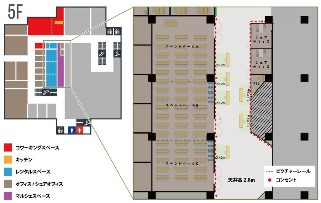 大阪府枚方市の貸し会議室・レンタルスペース「ビィーゴ」のギャラリー・ポップアップショップ・個展ができるマルシェスペース配置図