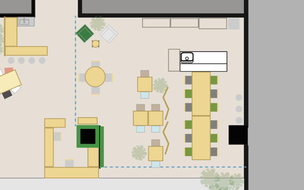 大阪府枚方市の貸し会議室・レンタルスペース「ビィーゴ」のキッチンスペース配置図