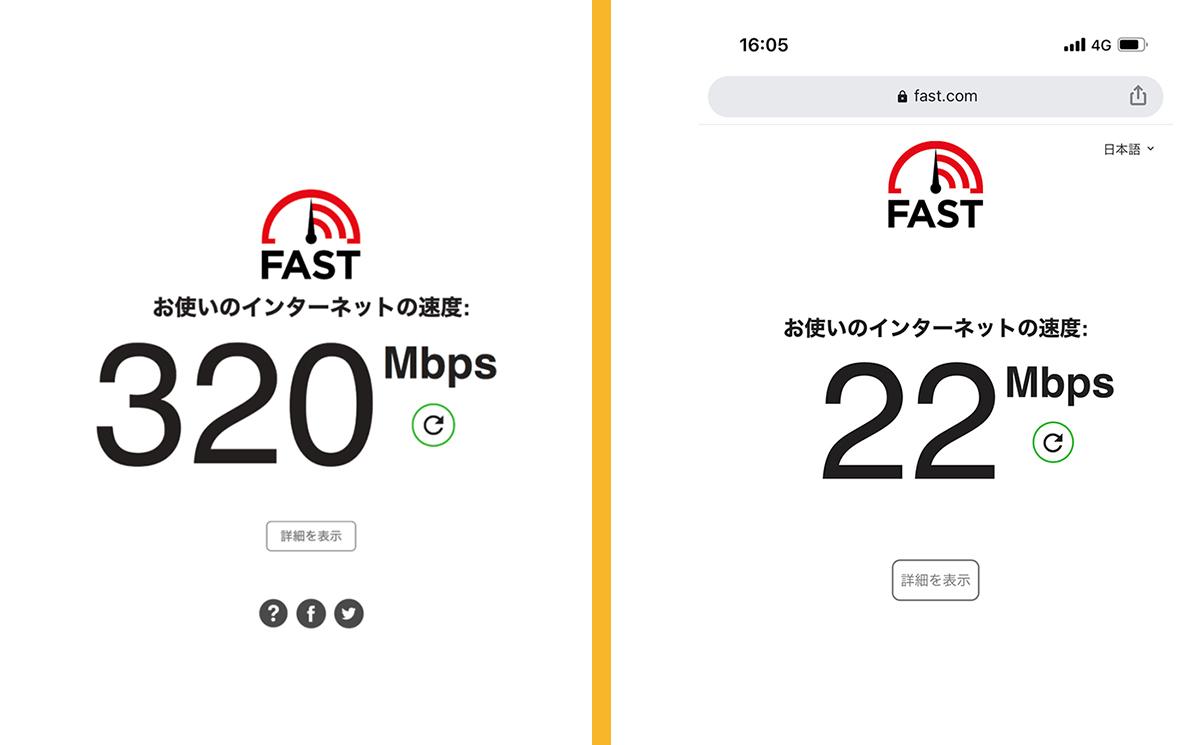 大阪府枚方市のコワーキングスペース ビィーゴの通信速度とスマートフォンの通信速度の比較